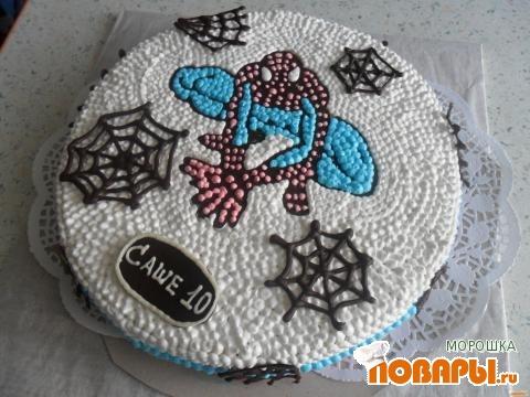 Торт человек паук украшение кремом