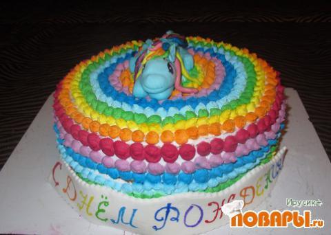 Желейный торт радуга фото