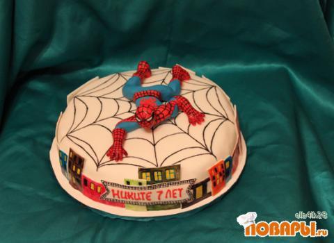 Как сделать торт человек паук из крема