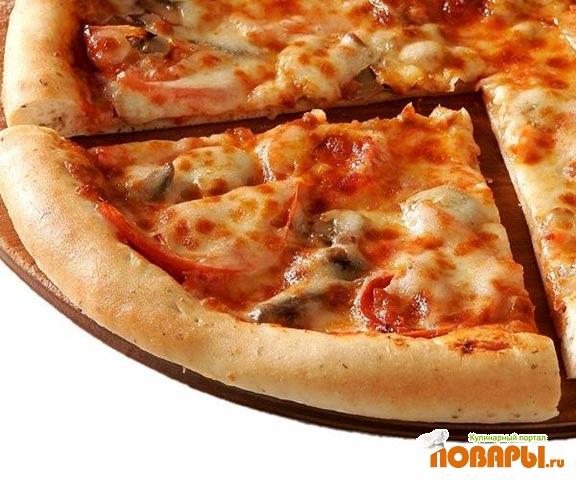 Рецепт Хрустящая пицца-хлеб с чесноком и прямыми травами