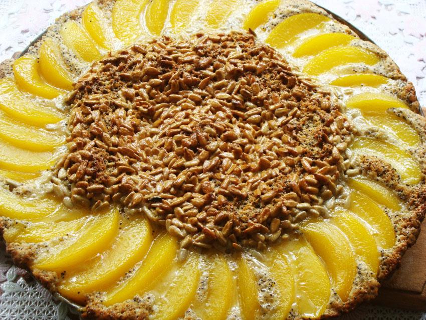 Рецепт Пирог с семечками и персиками
