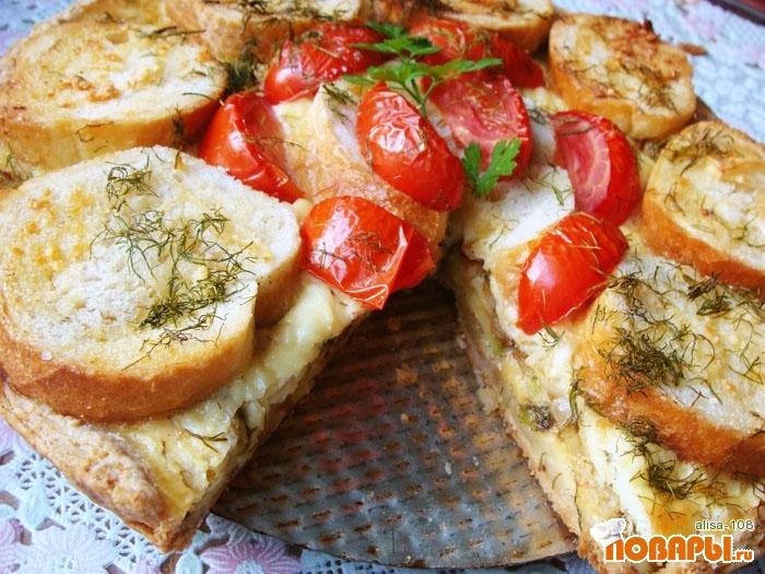 Рецепт Киш из кабачков с чесночным хлебом
