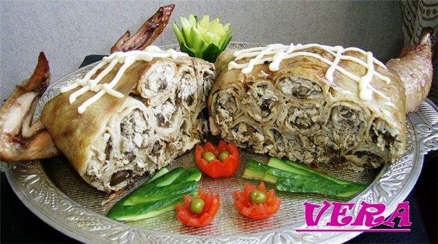 Рецепт Курица фаршированная блинами.