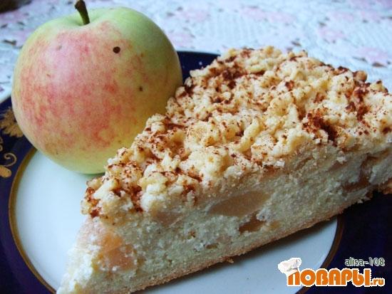 Рецепт Творожный пирог с яблоками и грушами