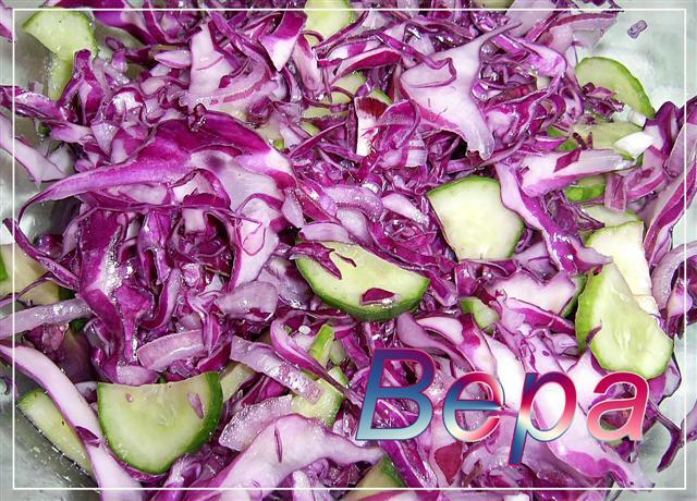 Рецепт Быстрый салат с капустой.