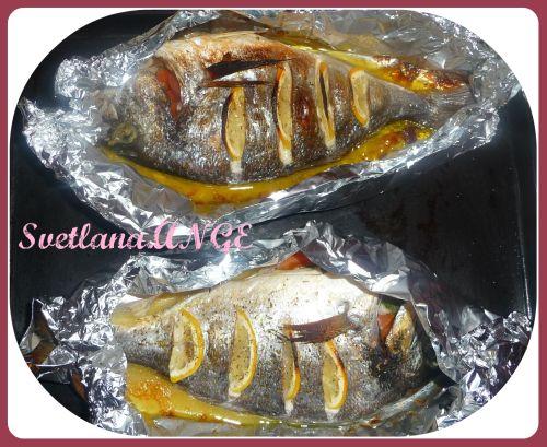 Рецепт Дорада в фольге фаршированная овощами