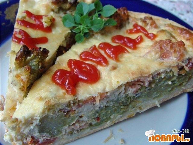 """Рецепт Киш """"Лорен"""" с брокколи и красной рыбой"""