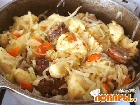 Рецепт Картофельные кнедли с капустой и домашней колбасой