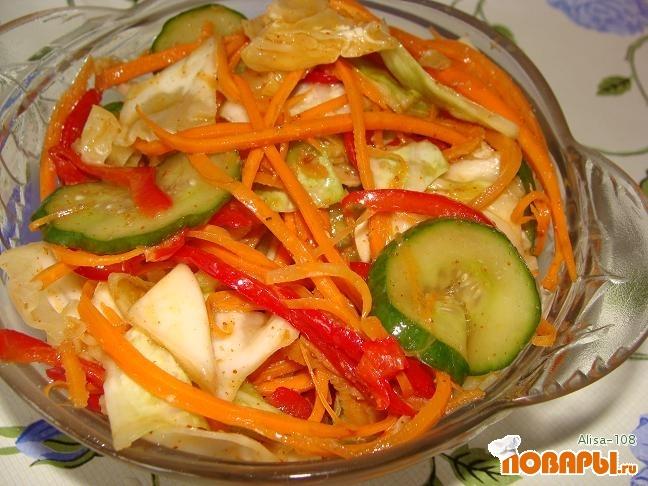 Рецепт Салат с капустой и огурцами по корейски