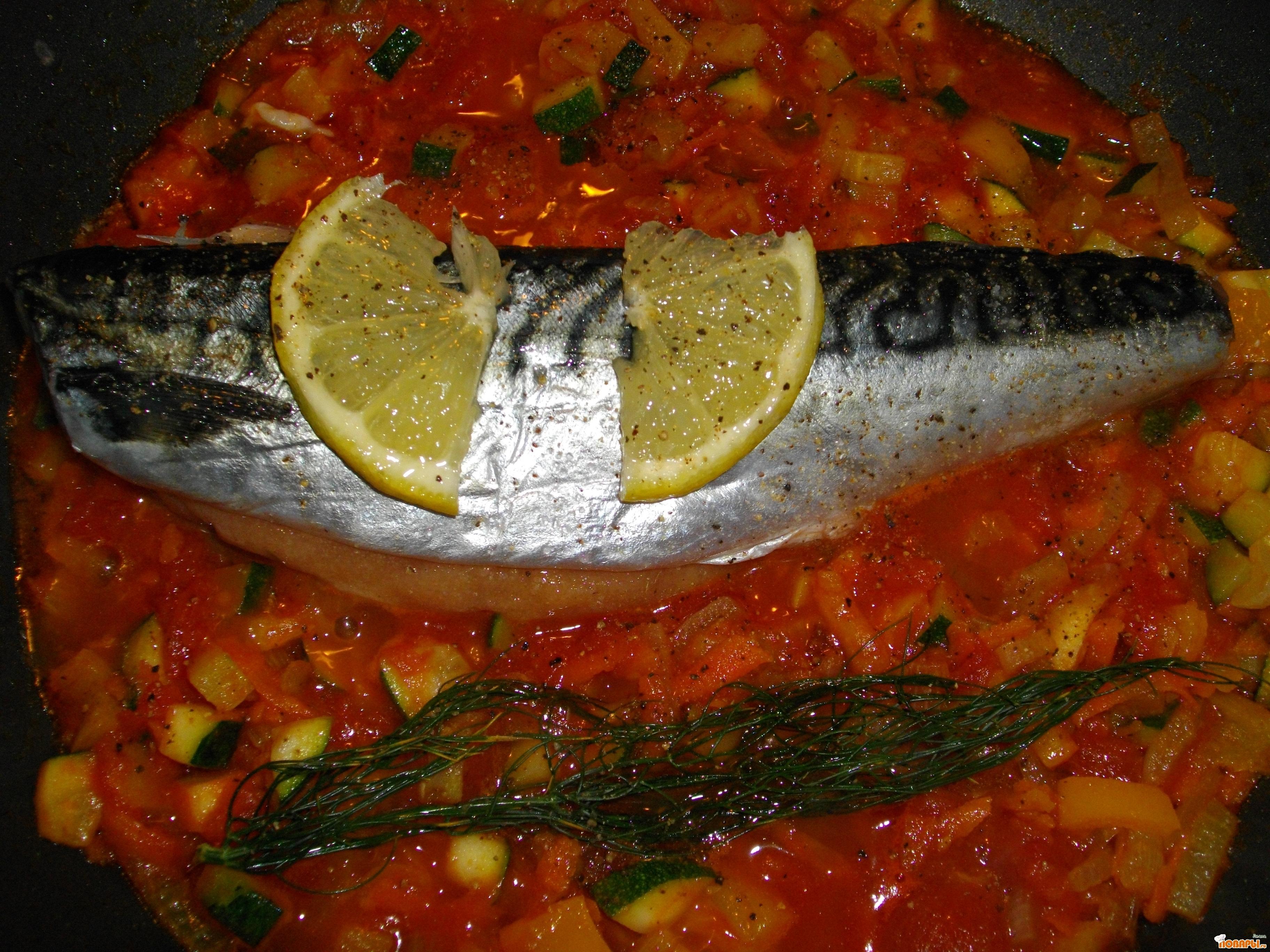 Рецепт Скумбрия с ворчестерским соусом и овощами.