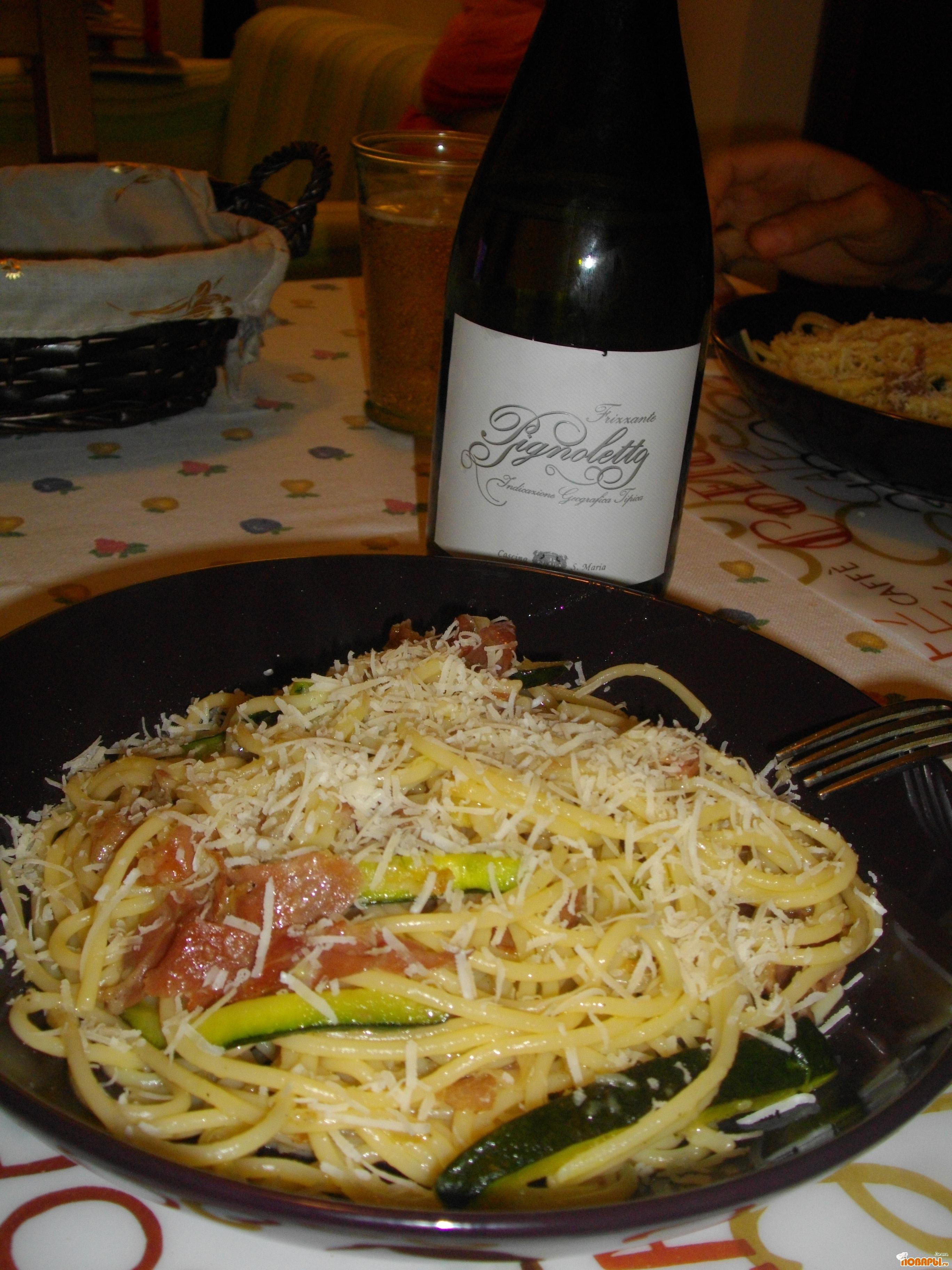 Рецепт Спагетти кон прошутто крудо е цуккини. (Спагетти с сыровяленной ветчиной и цуккини).