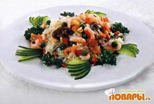 Рецепт Жареный рис с ветчиной, овощами и креветками