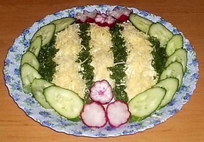 Рецепт Салат из кальмаров и ветчины