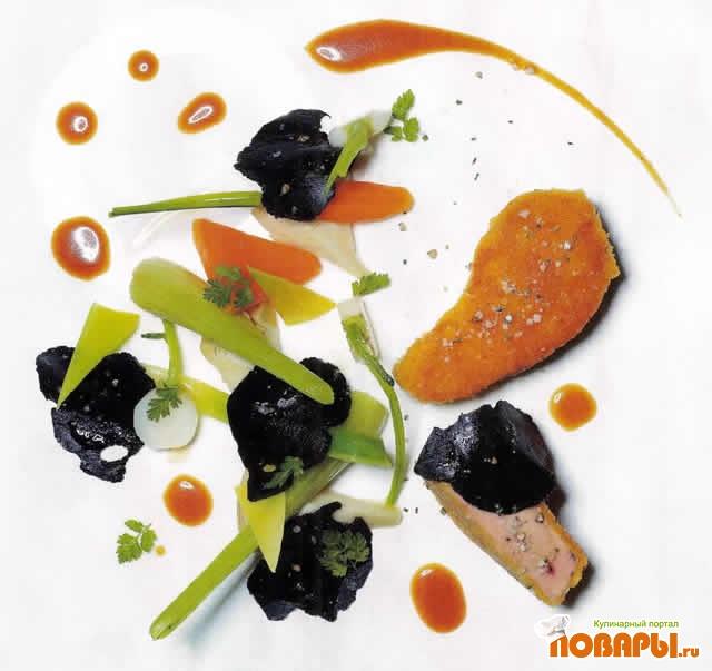 Рецепт Пожарские котлеты из гусиной печени с черными трюфелями и забытыми овощами
