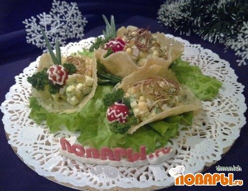 Рецепт Салат «Оливье в корзинках»