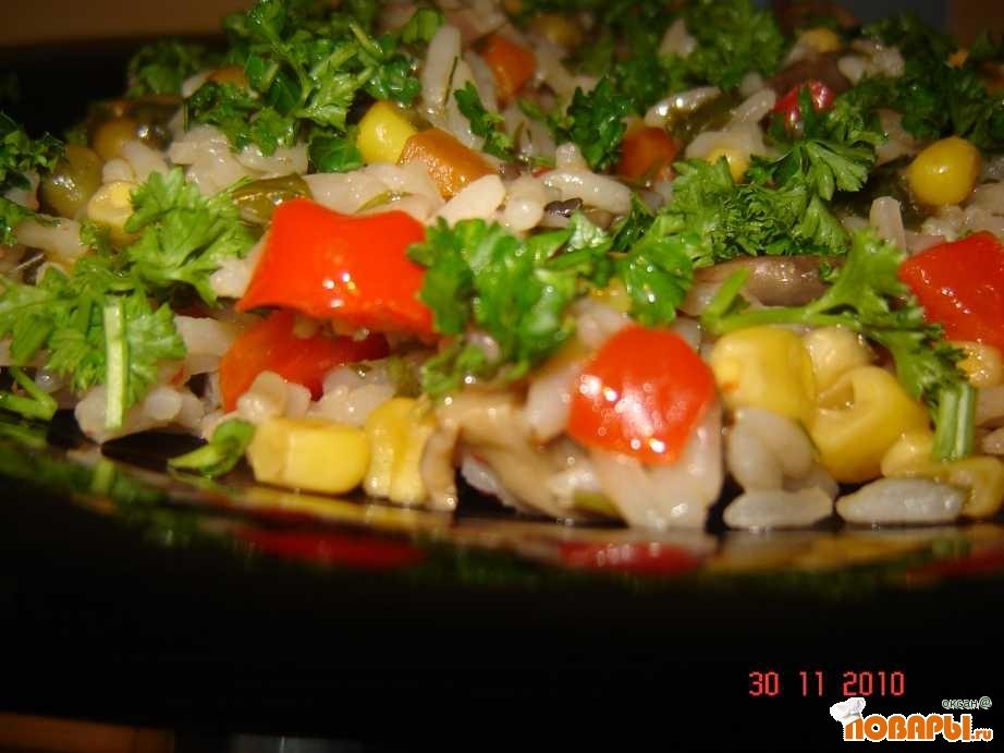 Рецепт Рис с овощами и грибами