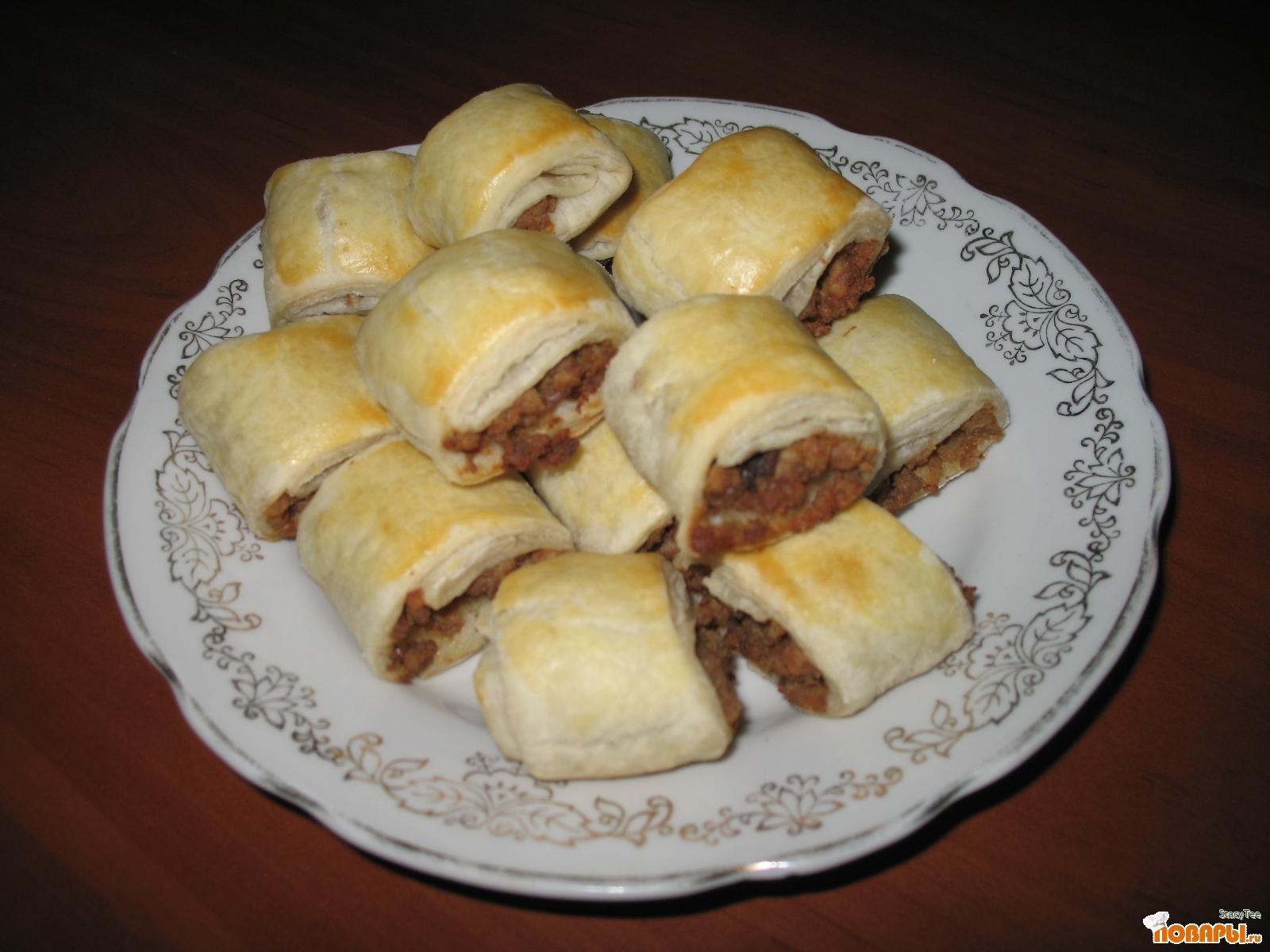 Рецепт Слоеные рулетики с мясом