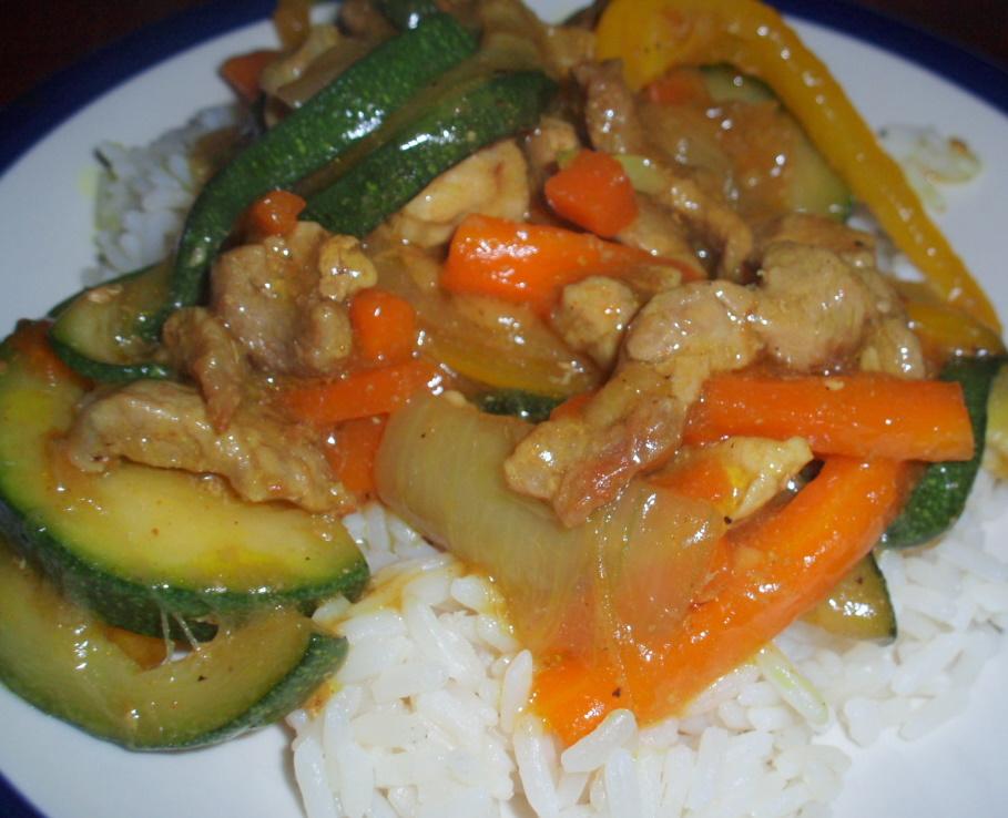 Рецепт Свинина с овощами и рисом