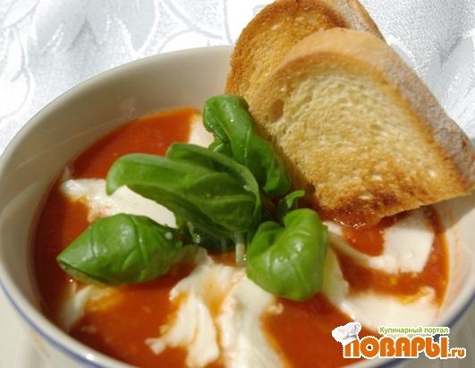 Рецепт Томатный суп с моцареллой
