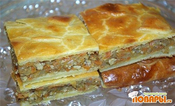 Рецепт Сочный капустный пирог с куриным фаршем