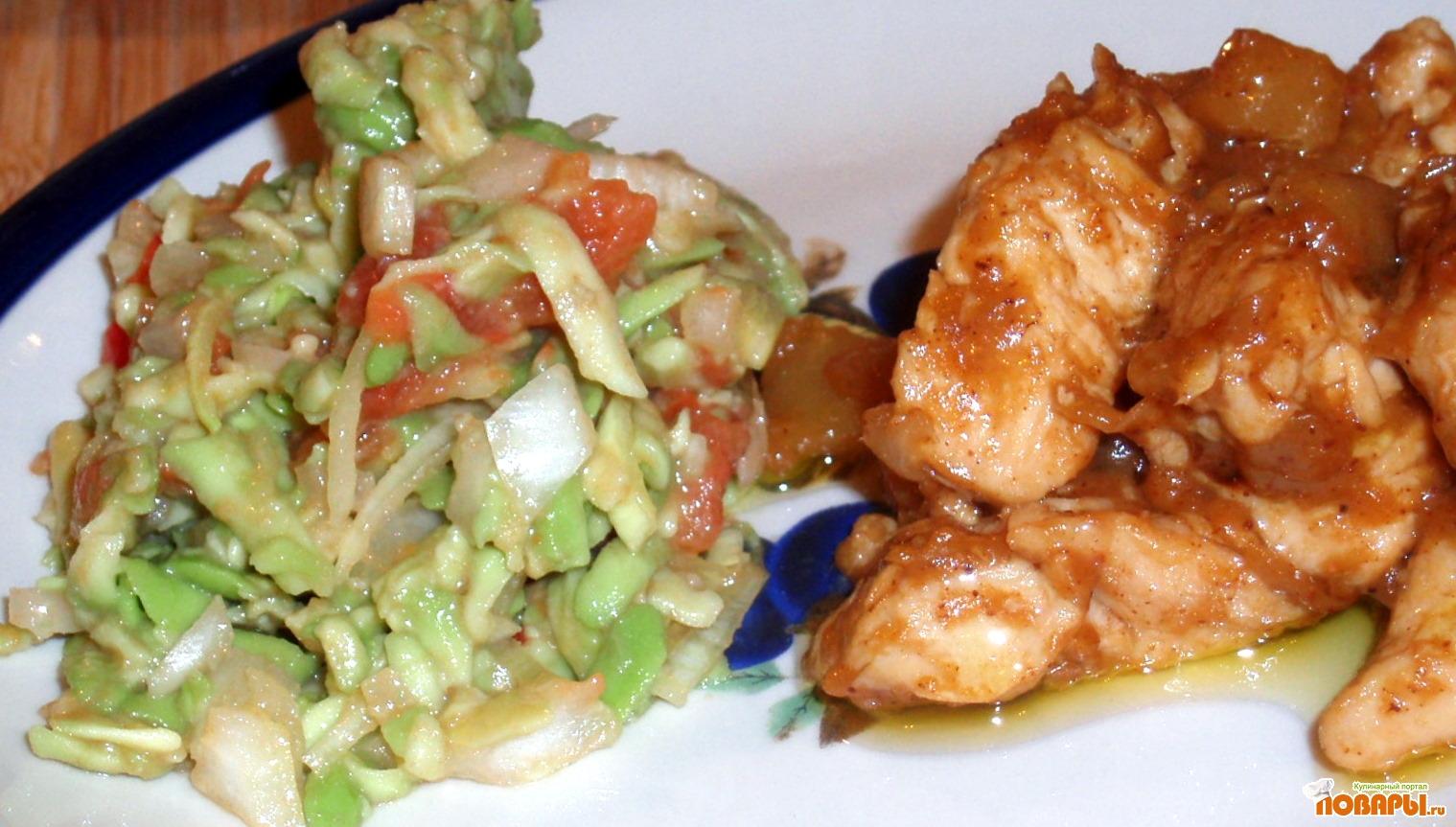 Рецепт Куриные грудки с яблоками, корицей и гуакамоле