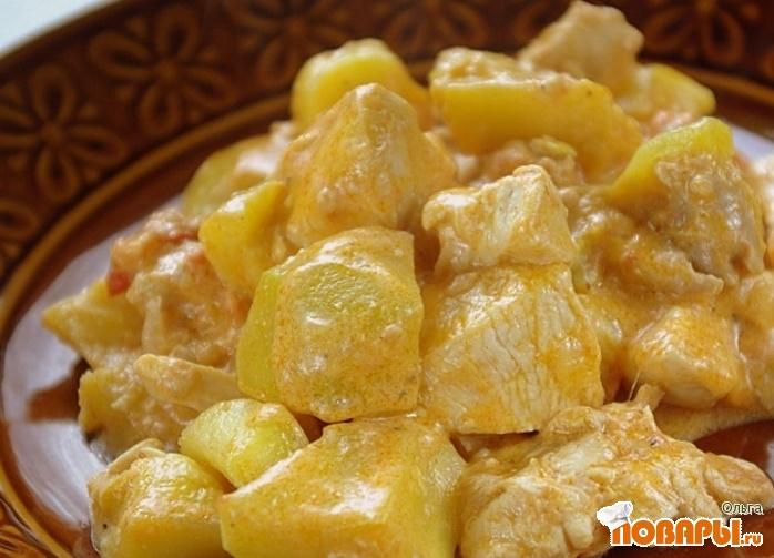 Рецепт Куриное филе с кабачками в сливках
