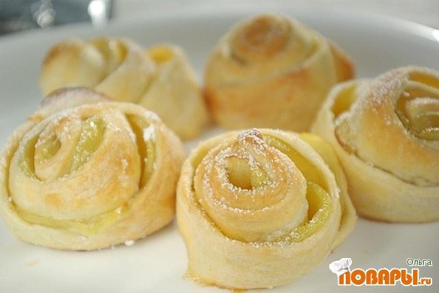Рецепт Слоеные яблочные плюшки
