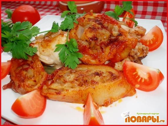 Рецепт Луковый рулет с жареными куриными окорочками