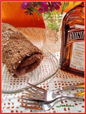 Рецепт Шоколадный рулет с курдом из красной смородины