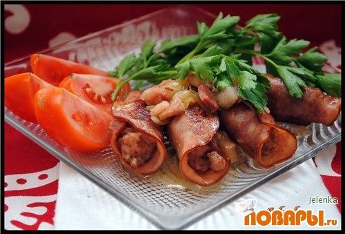 Рецепт Рулетики из ветчины с рубленым мясом