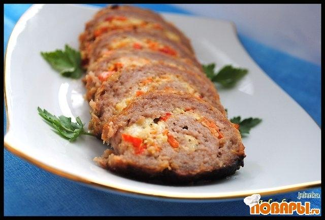 Рецепт Мясной рулет с овощным омлетом