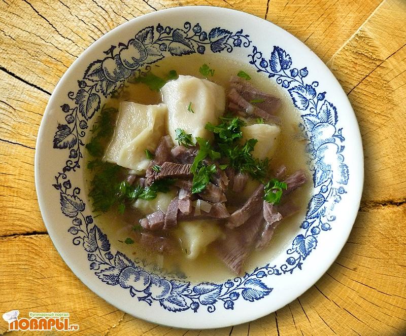 Рецепт Суп «Улитка» с говяжьим или свиным языком