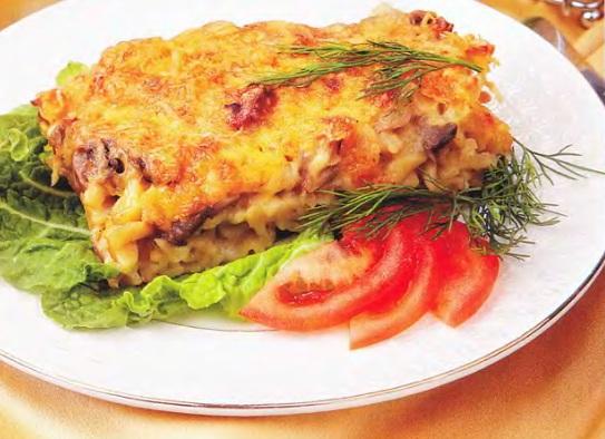 Рецепт Картофельная запеканка с грибами и рыбой
