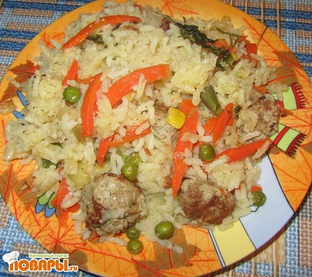 Рецепт Рис с фрикадельками и овощами