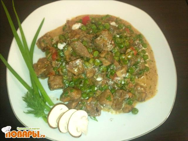 Рецепт баранина с грибами и сливками