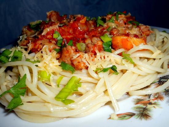 Рецепт Спагетти с острым апельсиново-томатным соусом
