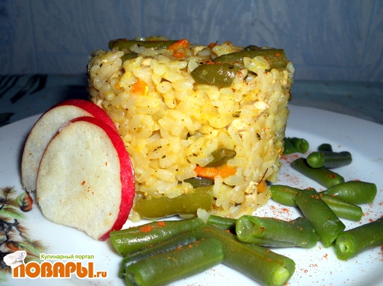 Рецепт Рис с курицей и зеленой стручковой фасолью