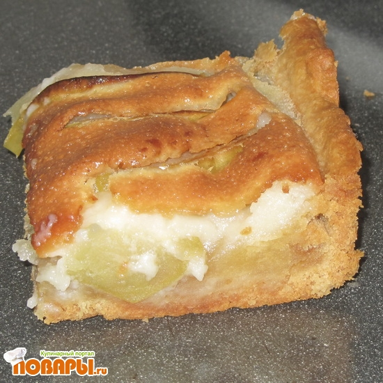 Рецепт Пирог с яблоками в сметанной заливке