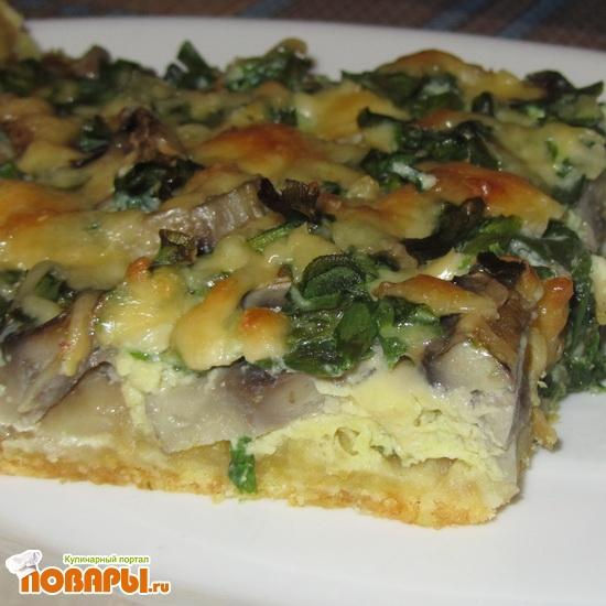 Рецепт Открытый пирог с грибами и зеленым луком