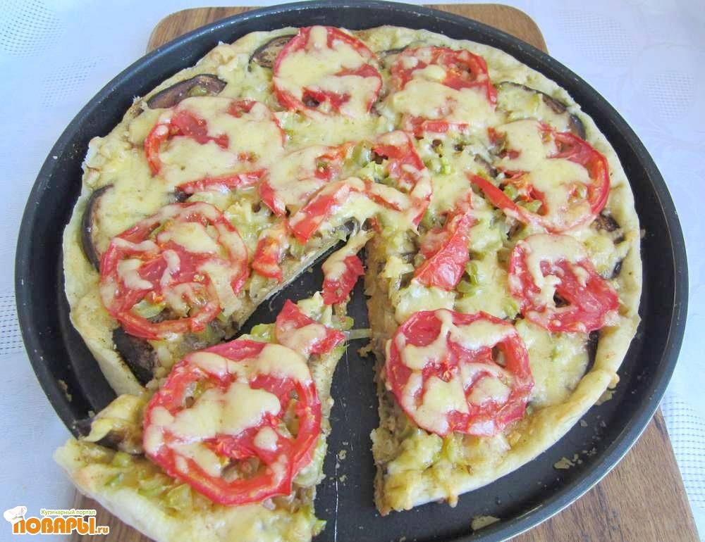 Рецепт Овощная пицца с баклажаном