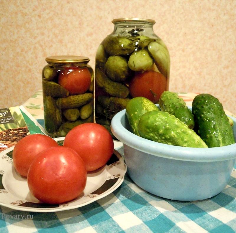 Рецепт Консервированные огурцы с томатами
