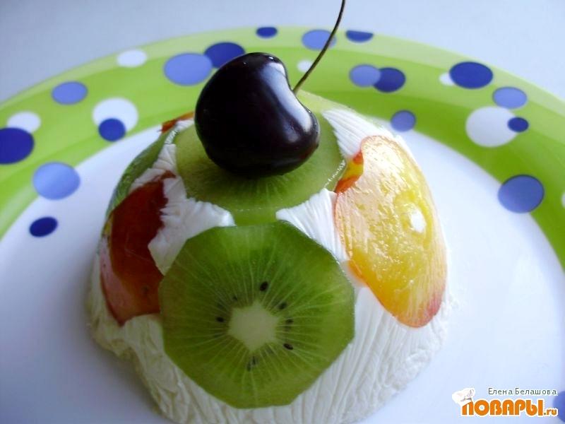Рецепт Творожное желе с фруктами