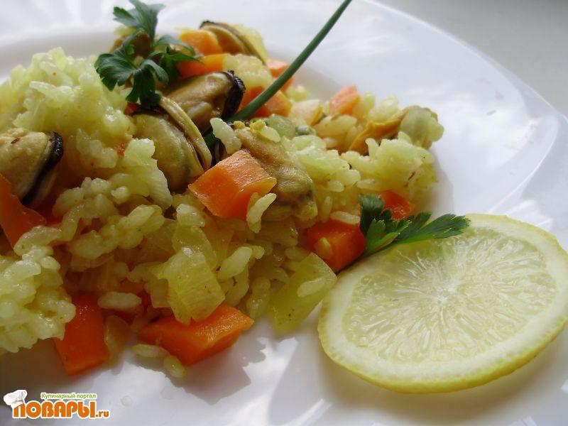 Рецепт Рис с замороженными мидиями и овощами