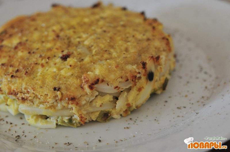 Рецепт Порционный пирог с кальмарами (Диета Дюкан). ЧБ
