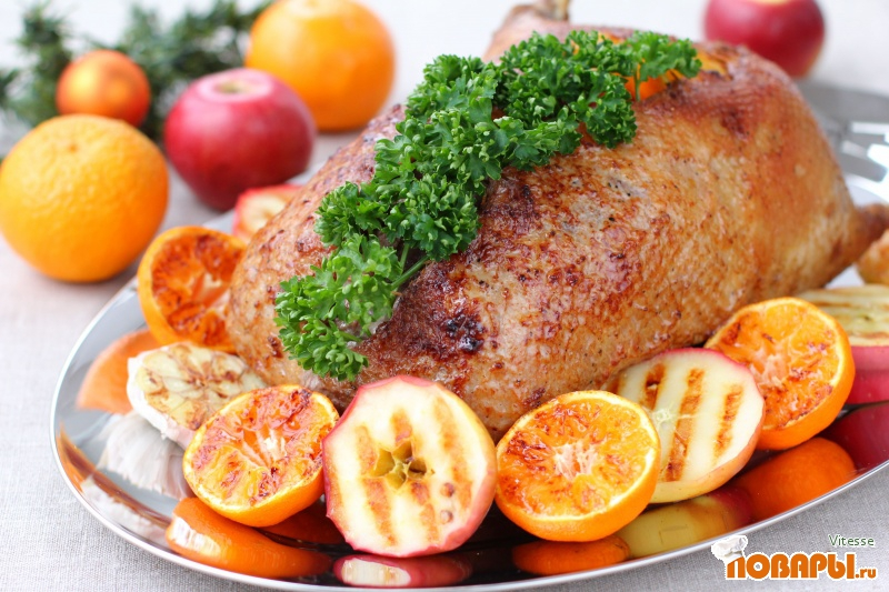 Рецепт Гусь с яблоками и апельсинами