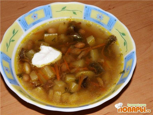 Рецепт Суп грибной с фасолью