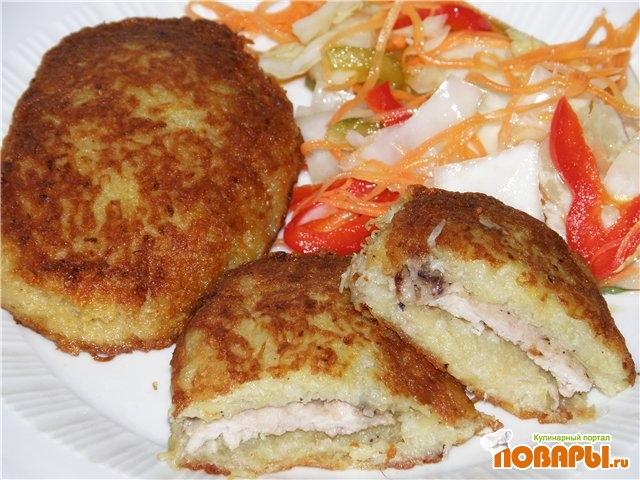 Рецепт Котлеты картофельные, фаршированные свининой