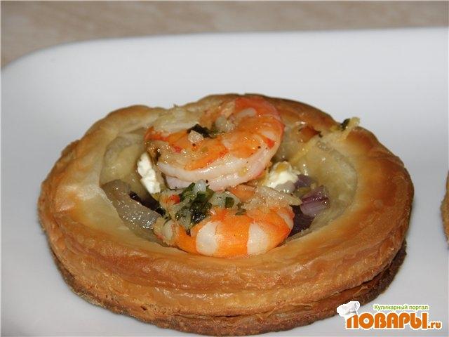 Рецепт Тарталетки с сыром и креветками