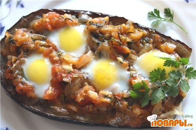 """Рецепт Баклажаны запеченные с яйцами """"Кораблики"""""""