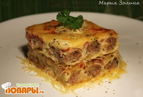 Рецепт Каннелони с курицей, грибами, ветчиной, запеченные в сливочном соусе с моцареллой!